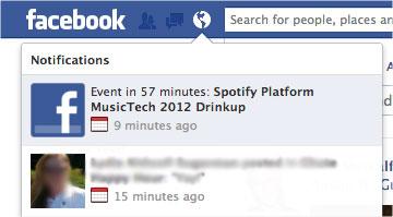 Screenshot of Facebook event notification test