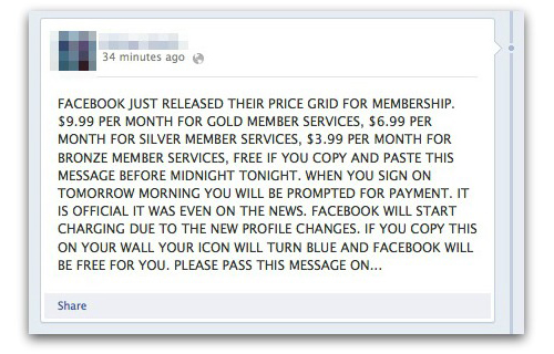 facebook price grid hoax Facebook did not just release a membership price grid; The service is still free and always will be