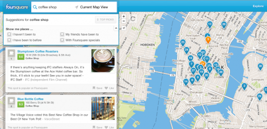 foursquare 520x253 Foursquare introduces Explore feature on its website, providing recommendations without signup or check in