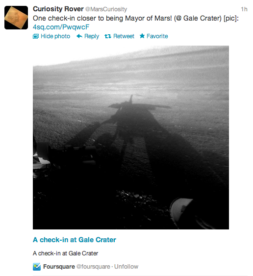 foursquare mars curiosity checkin Mars Curiosity becomes mayor of a planet, checks in on Foursquare