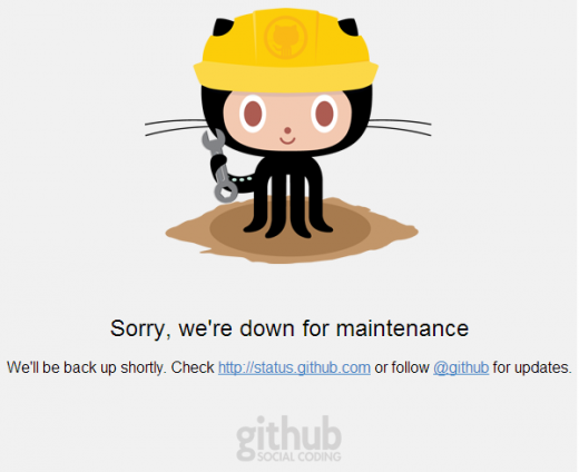 github maintenance 520x424 GitHub goes down on Tuesday and Wednesday, hit by major service outage due to DDoS on Thursday