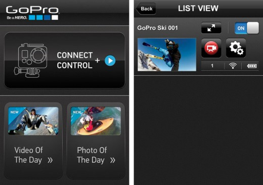 Screenshots of GoPro iOS App