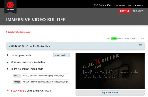 immersive video builder 520x343 How Galahads multi platform content engine could democratize transmedia storytelling