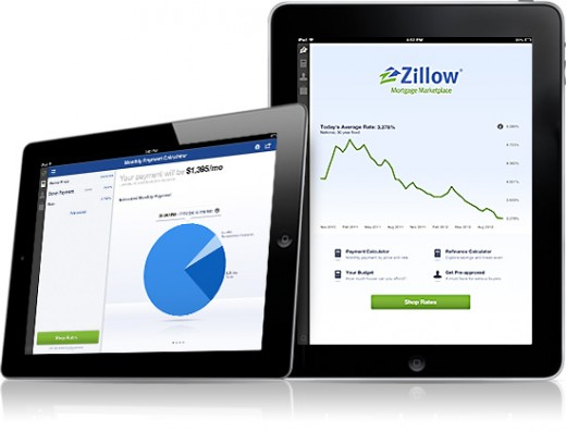 ipad withdevice 520x397 Real estate marketplace Zillow releases iPad app giving home buyers the tools to find the right loan