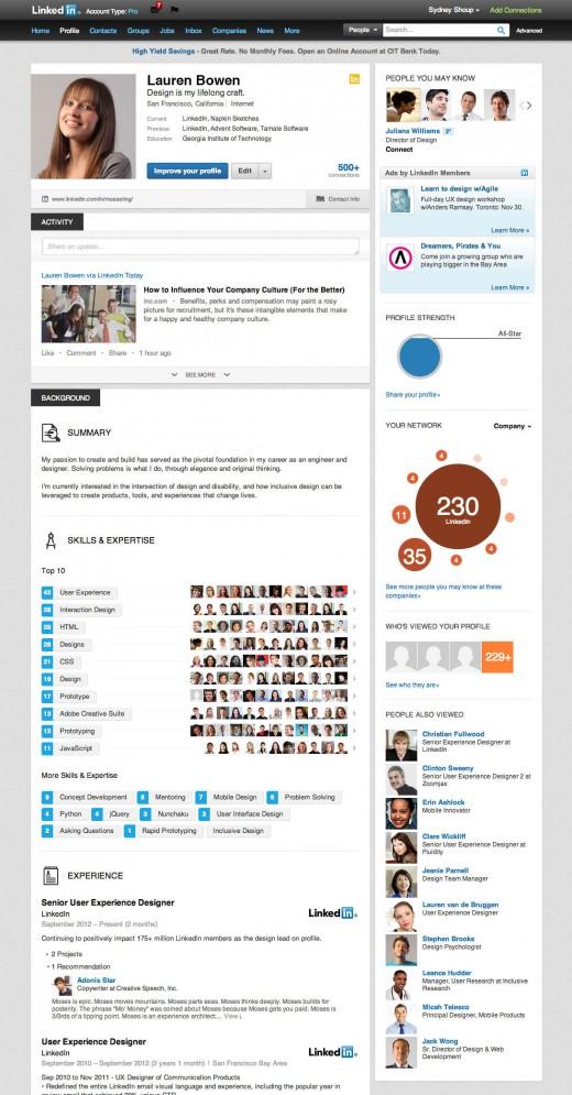 LinkedIn new profile 2.0 screenshot