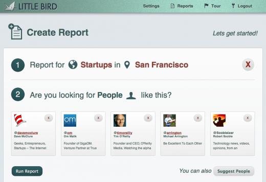 LittleBird screenshot of report creation and filtering influencer criteria