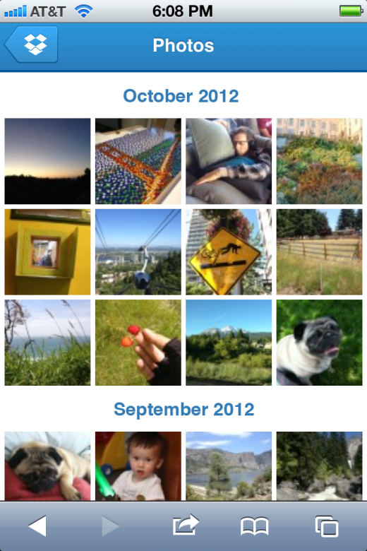 mobile photos screenshot 520x780 Dropbox updates its mobile site with new image galleries to improve photo viewing on the go