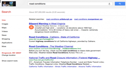 road conditions 520x283 More Hurricane Sandy help: Google intros Public Alerts to provide crisis information via Search, Maps