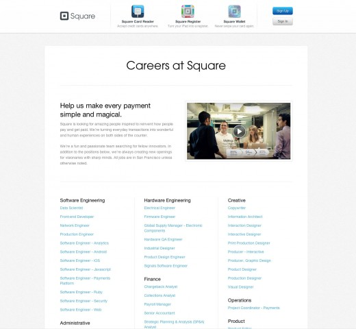 Square jobs page (old)