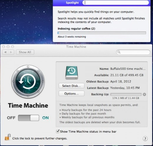 Users Are Having Issues with Time Machine and Spotlight in OS X 10 7 5