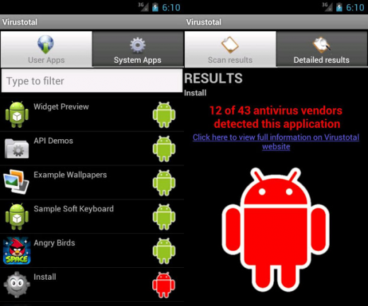 virustotal android 520x433 Play store update and VirusTotal buy: Google may soon scan your Android apps for malware