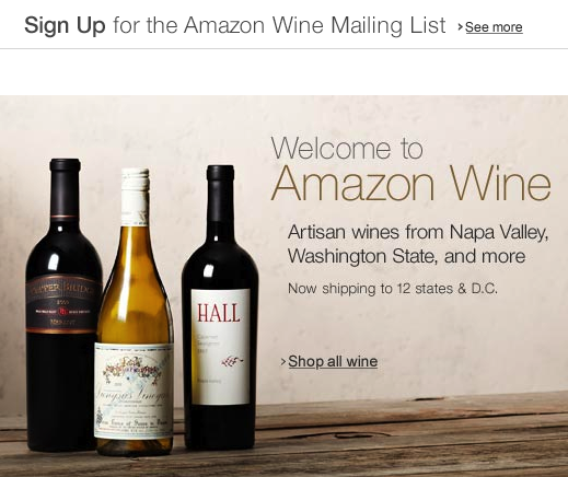 Amazon.com Wine Grocery Gourmet Food 152500 Cheers! Amazon debuts its dedicated (US only) marketplace for wine
