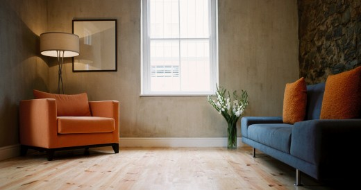 low angle view of a minimalist living room