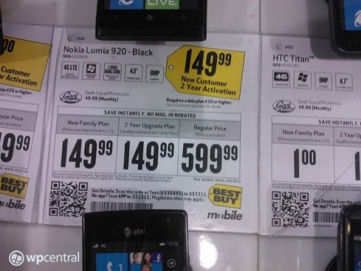 All but official: Best Buy ad lists the Nokia Lumia 920 at $149
