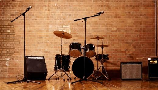 Drum Kit, Microphones and Loudspeakers in a Studio
