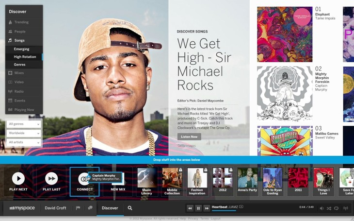 New Myspace Discover Songs DragDrop1 730x455 Myspace burning: As new site rolls out, how it hopes to rise from the ashes and back into prominence