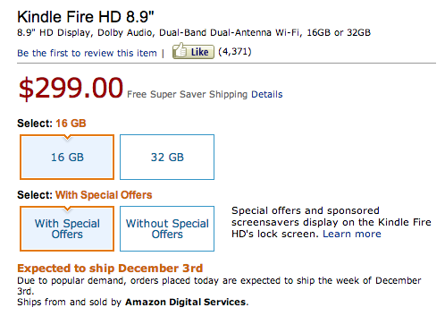 Screen Shot 2012 11 15 at 14.17.08 Amazon begins shipping Kindle Fire HD 8.9 preorders, five days earlier than expected