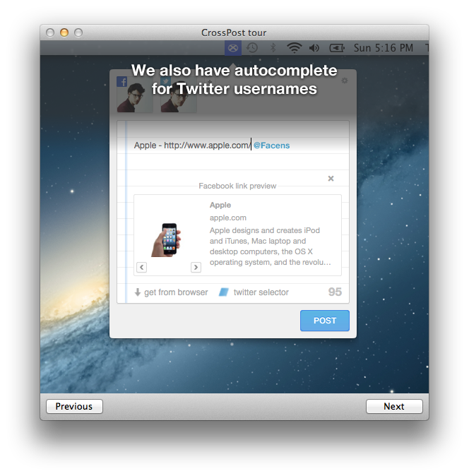 Crosspost for Mac: Simultaneously Post to Facebook & Twitter
