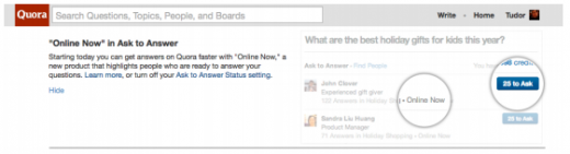 Quora Online Now screenshot