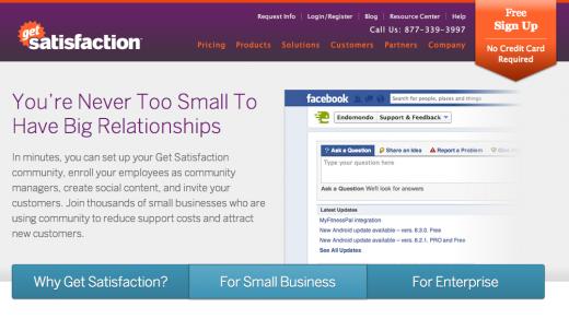 Get Satisfaction free plan website screenshot