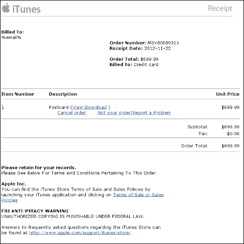 appleblackhole1 500 Cybercriminals use fake Apple iTunes invoices and IRS warnings to infect Windows users with malware