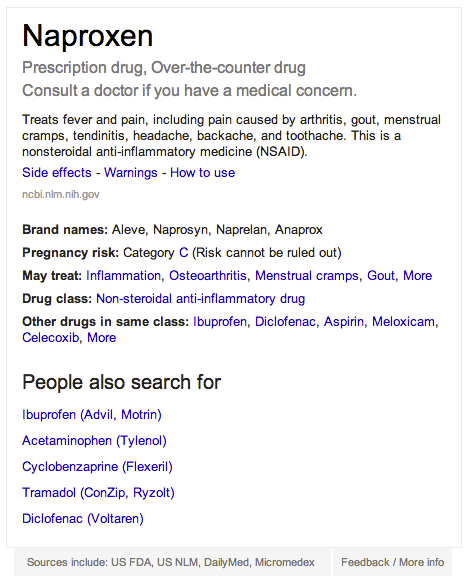 blog post example Google now includes medications directly in search results, including brand names and side effects