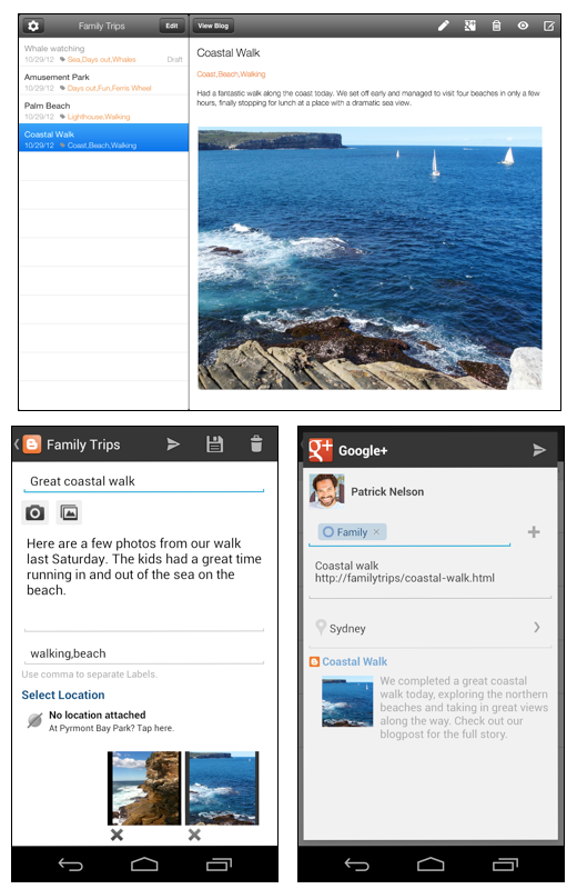 blogger apps Bloggers Android and iOS apps get landscape composing, Google+ integration, and iPad support