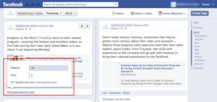Facebook Pages screenshot -- new analytics