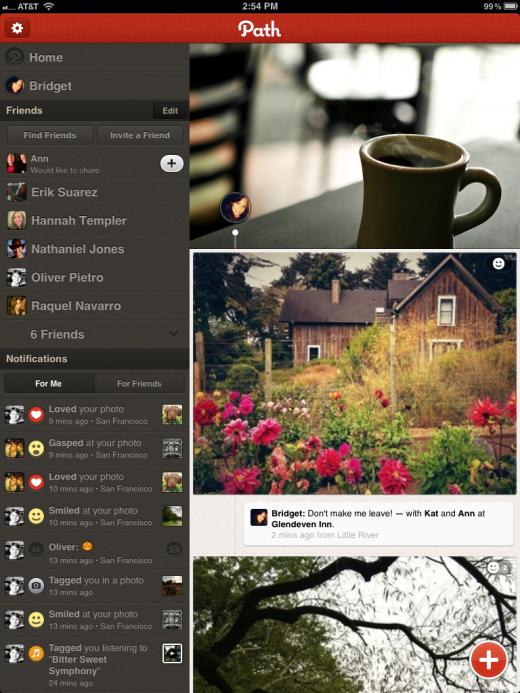 Path iPad app home screen