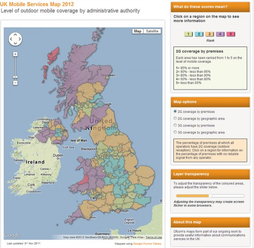 ofcom uk mobile map 520x506 UK mobile data consumption more than doubles as fixed broadband speeds hit 12.7Mbps says Ofcom