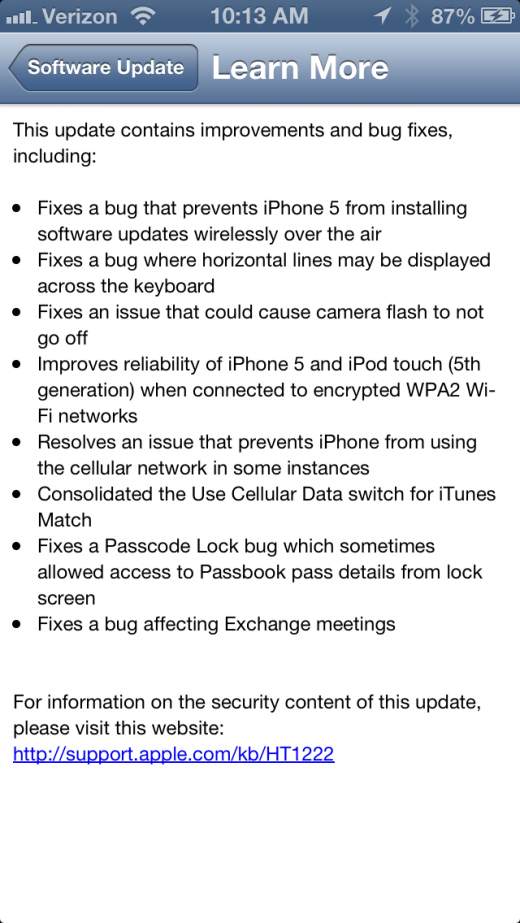 photo 4 520x923 Apple releases iOS 6.0.1, bringing fix for iPhone 5 OTA updates, keyboard glitches, WiFi performance and more