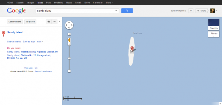 sandy island 730x344 Modern Atlantis: Sandy Island shown in marine charts, Google Maps and Earth, doesnt actually exist