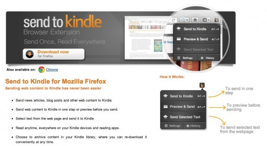 send to kindle for firefox 520x286 Amazon unveils a Send to Kindle button for Firefox, and you can install it now