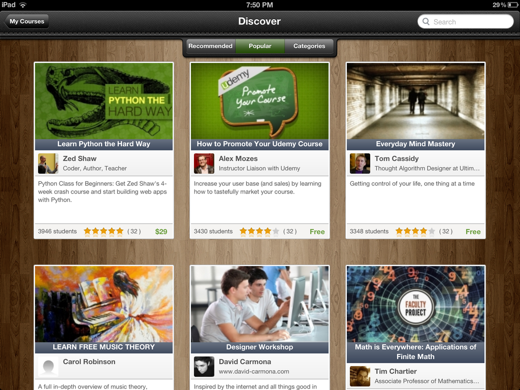 Udemy releases an iPad app, taking its 5,000-course online learning platform mobile