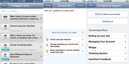 UserVoice for iOS Screenshots