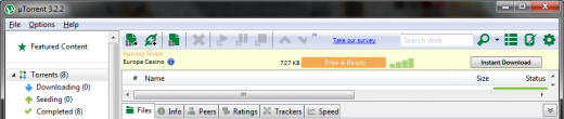 utorrent 322 520x110 uTorrent 3.22 released, officially supports Windows 8 and now displays ads in client