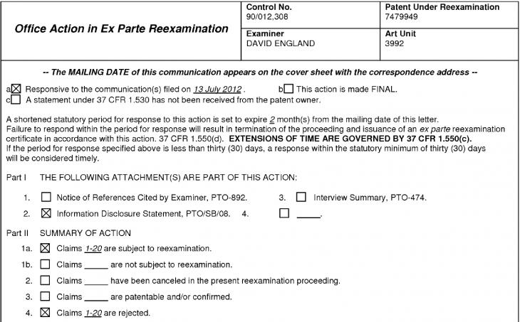 12-12-03 USPTO FOA '949 patent