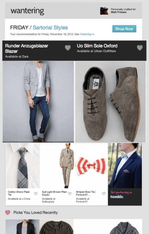 Example Recommendation Email 520x814 Wantering wants to be the go to social Web search service for fashionistas