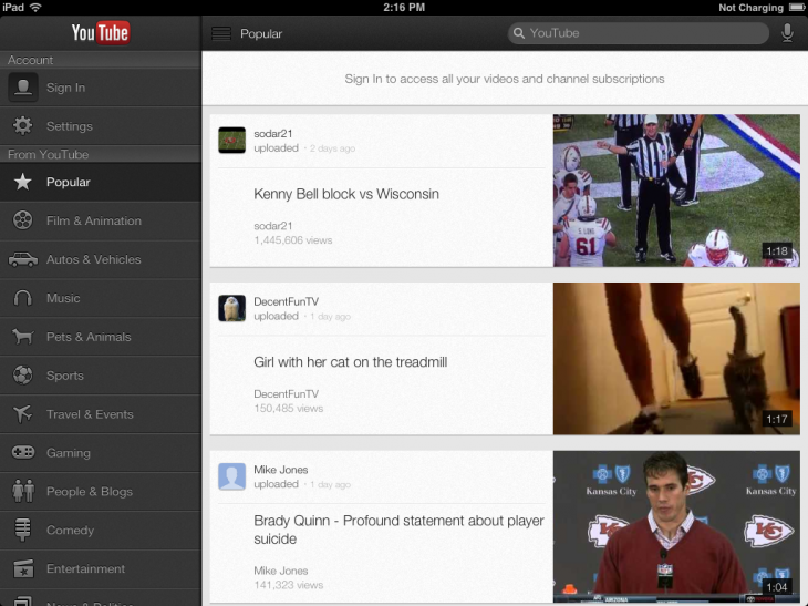 IMG 0024 730x547 YouTube for iOS updated with iPad, iPhone 5 support, AirPlay and performance improvements