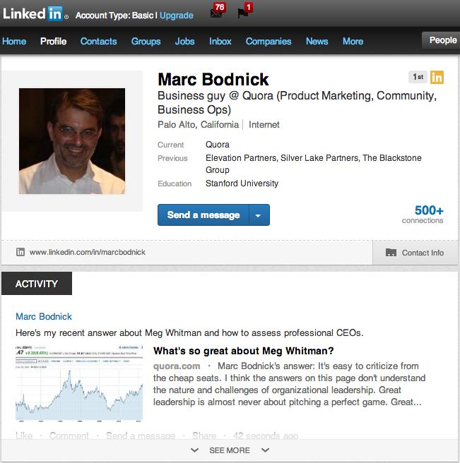 LinkedIn new profile screenshot