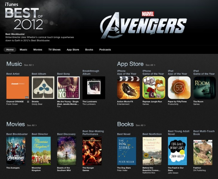 Screen Shot 2012 12 13 at 10.16.57 AM 730x600 Apple Best of 2012 rates iTunes, iBooks and App Store, names Action Movie FX', Paper leading apps