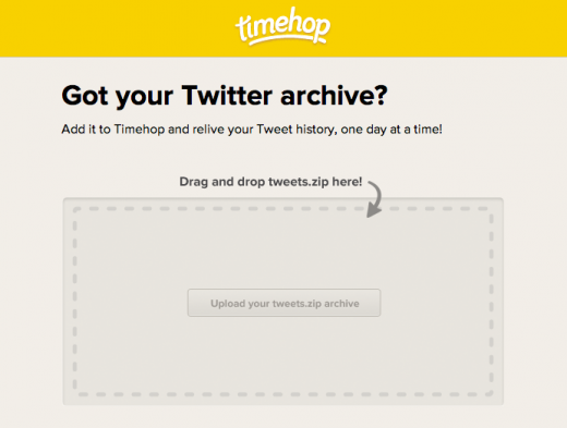 Screen Shot 2012 12 19 at 4.07.04 PM 520x393 Timehop now lets you import your Twitter archive for an even deeper catalogue of moments