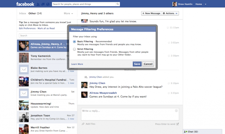 Facebook Messages update with filtering