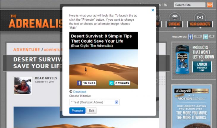 OneSpot content-to-ad screenshot