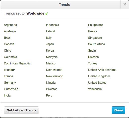 Twitter Trending Topic Locations Worldwide