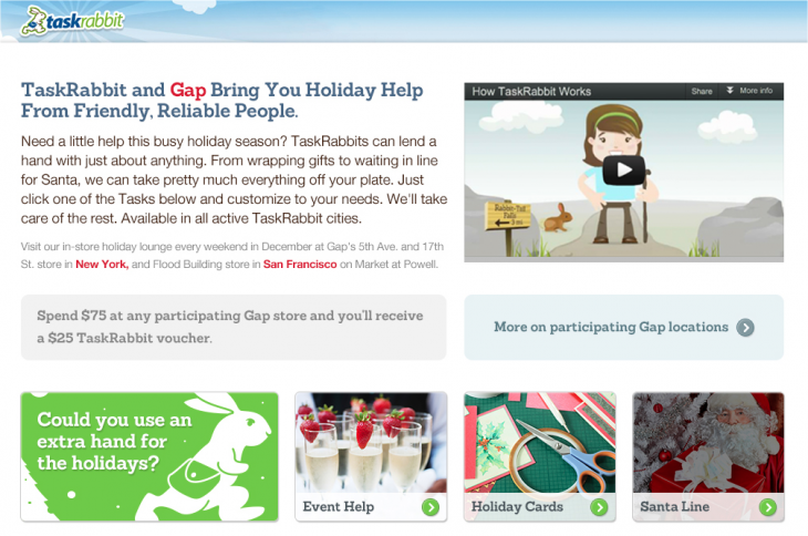 Snap 2012 12 07 at 02.11.38 730x484 Gap wants to ease the holiday stress: Spend $75, get a $25 TaskRabbit voucher to do anything you want