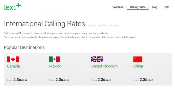 textPlus international calling rates