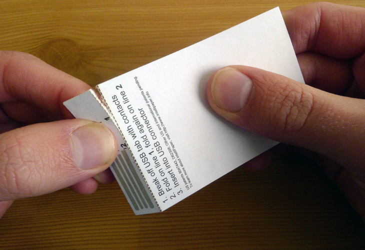 Intellipaper adds a disposable usb drive to your business card the colourmoves