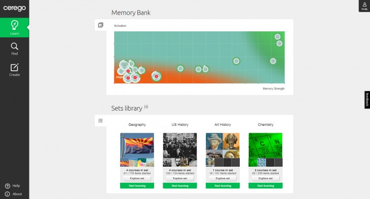 cerego homescreen 730x394 With 3.7m study hours logged, Cerego launches memory management service in US to improve education