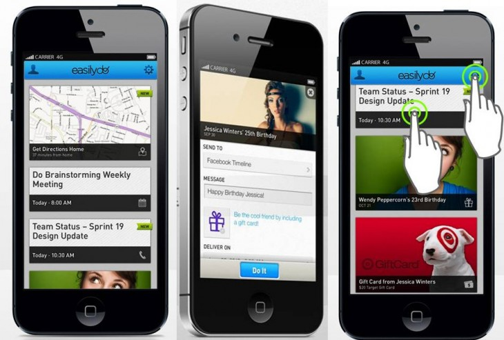 easilydo screenshots 730x493 Easilydo gets $4.3m from USVP and Mayfield, launches its social productivity iPhone app in the US